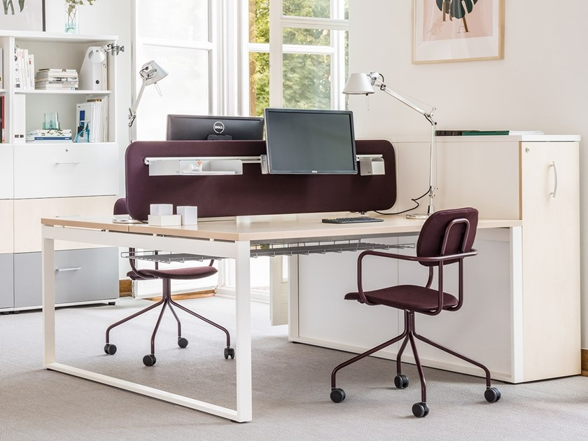 Multiple melamine-faced chipboard office workstation for open space OGI_Q_BENCH by MDD