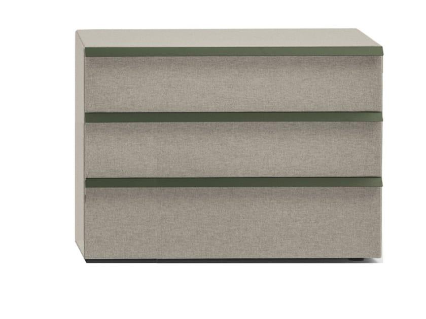 Cassettiera in legno e tessuto con tre cassetti OIKOS 3 by Bolzan Letti