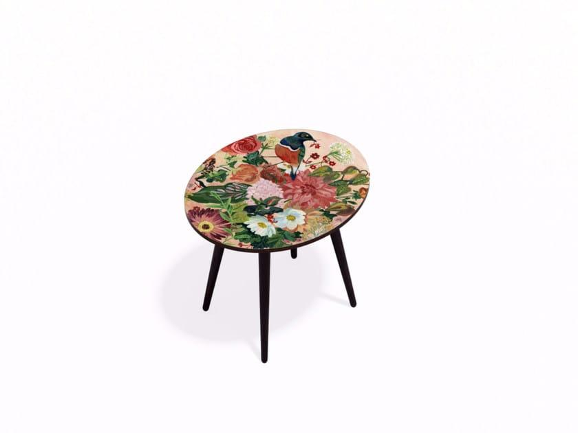 Oval Beech wood and HPL coffee table OISEAU LIBERTE M by Bazartherapy