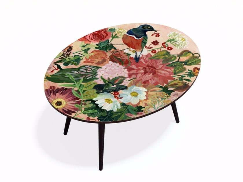 Oval beech wood and HPL coffee table OISEAU LIBERTE XL by Bazartherapy