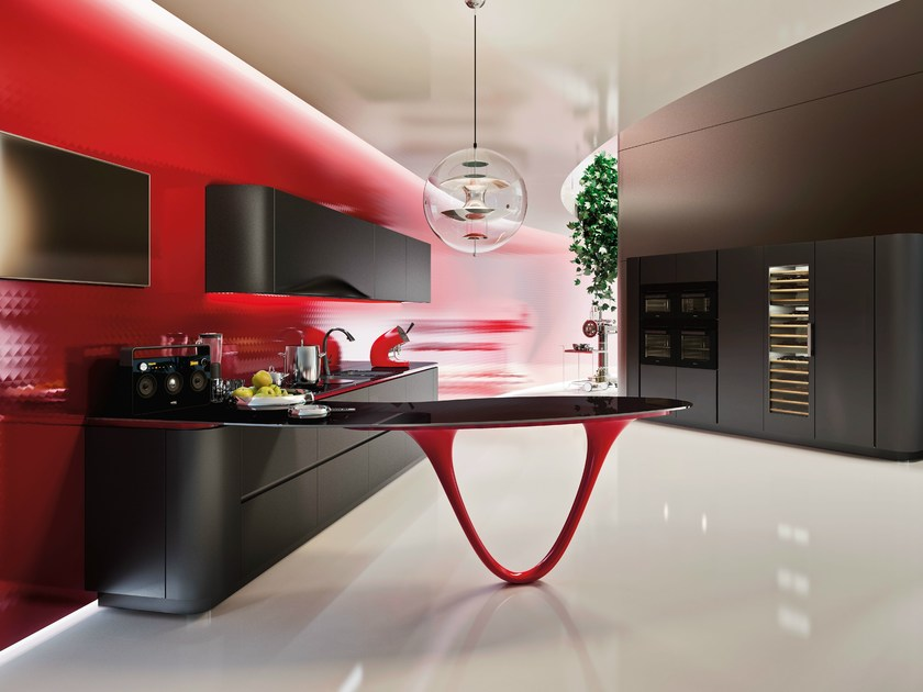 Lacquered kitchen with peninsula OLA 25 LIMITED EDITION by Snaidero