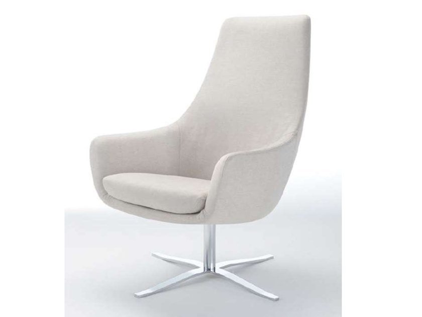Upholstered leather armchair with armrests OLA | Armchair by ZALABA Design