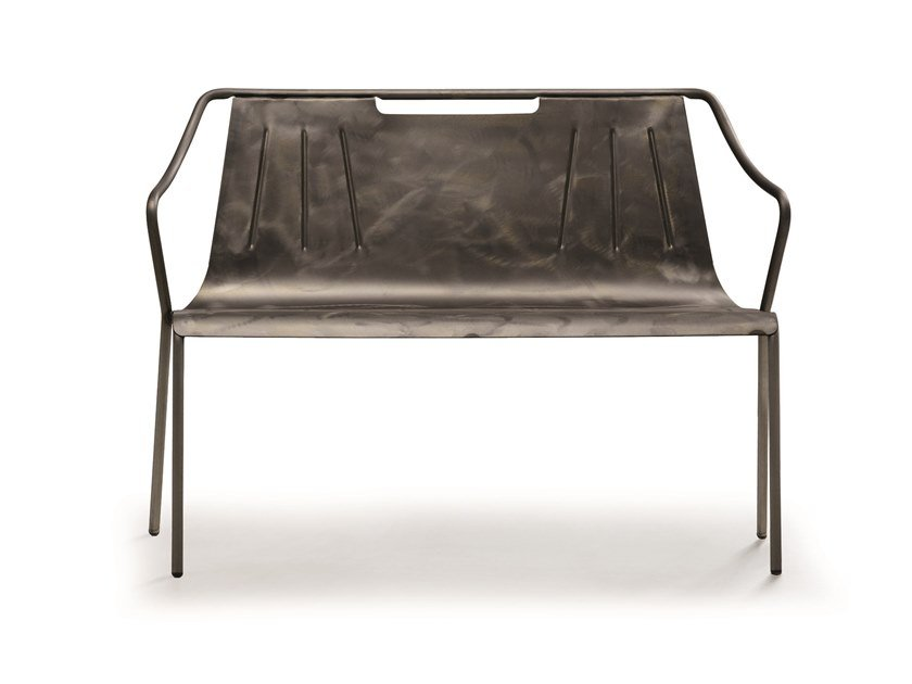 Steel garden bench with armrests OLA | Garden bench by Midj