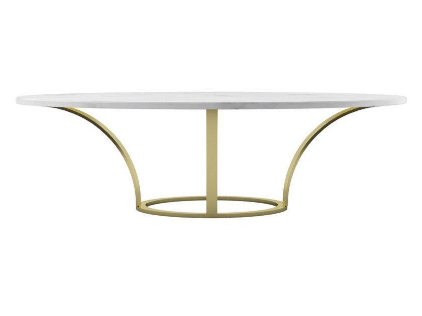 Oval steel and marble dining table OLA | Marble table by ZALABA Design