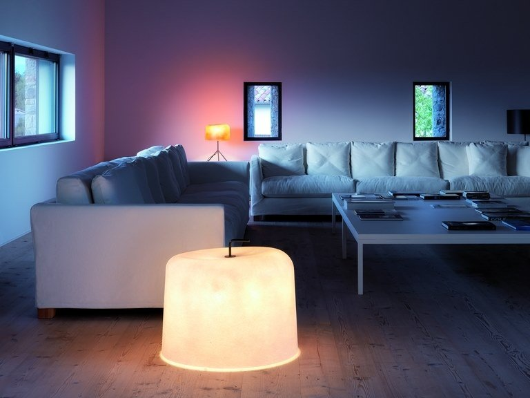 Glass-fibre floor lamp with dimmer OLA MOVE | Floor lamp by Quadrifoglio