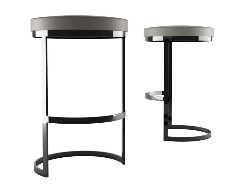 Steel stool with footrest OLA | Stool by ZALABA Design