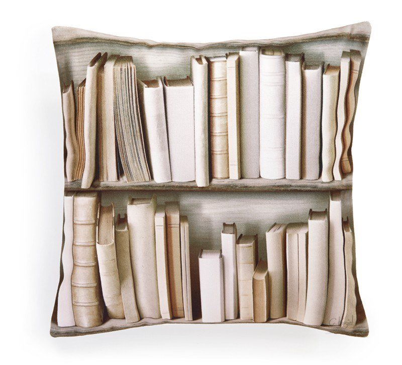 Square polyester cushion OLD BOOKSHELVES by Koziel