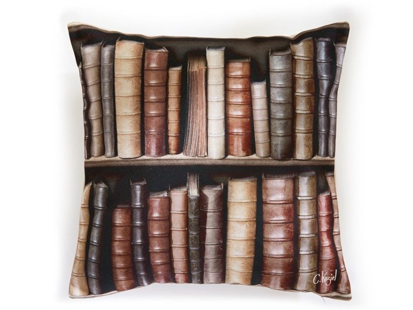 Square polyester cushion OLD BOOKSHELVES (SERIES 1) by Koziel