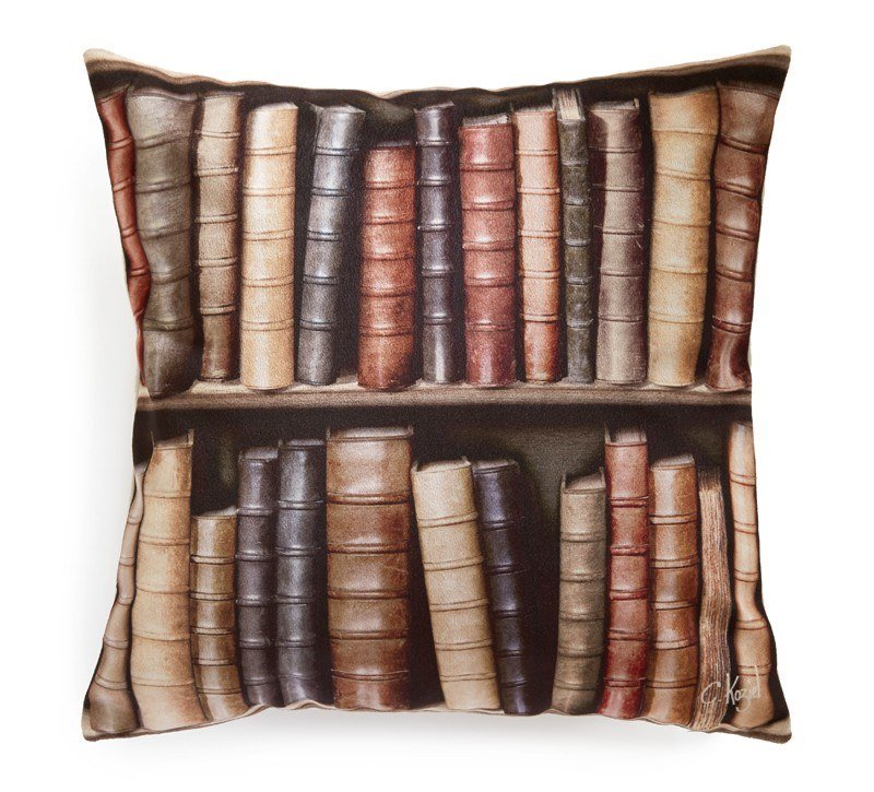 Square polyester cushion OLD BOOKSHELVES (SERIES 2) by Koziel