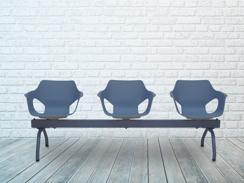 Polypropylene beam seating with armrests OLÈ 10-B by delaoliva