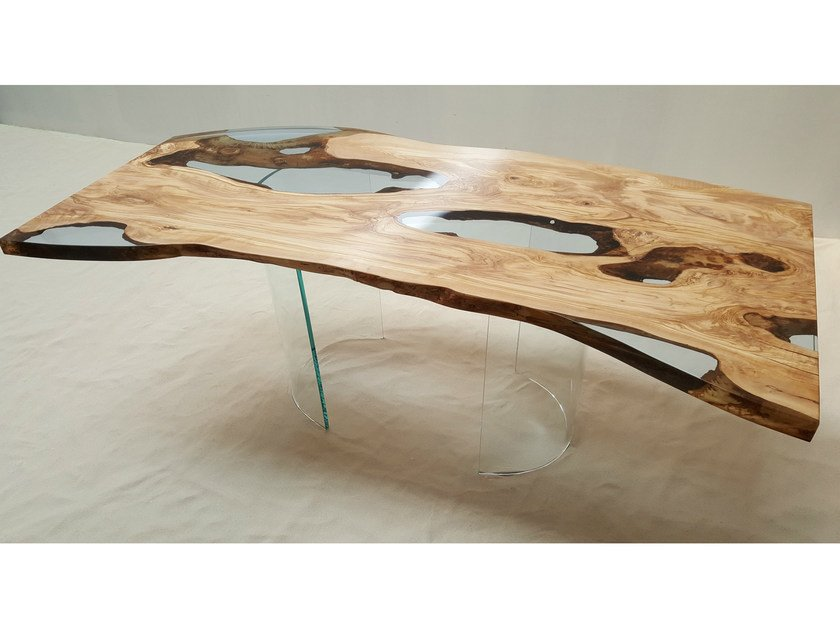 Great Resin And Olive Wood Table OLIVE TREE By Azimut Resine