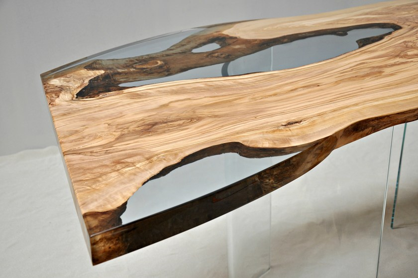 Resin And Olive Wood Table OLIVE TREE By Azimut Resine