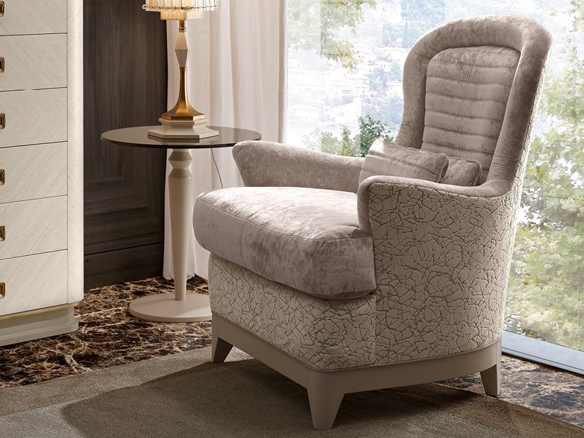Fabric armchair with armrests OLIVER | Bergere armchair by A.R. Arredamenti