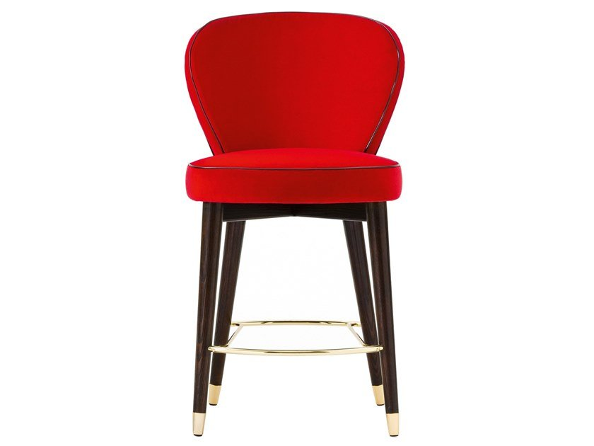 High fabric stool with back OLIVIA | Fabric stool by Black Tie