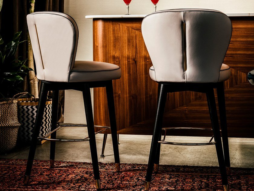 High swivel leather stool OLIVIA   Leather stool by Black Tie