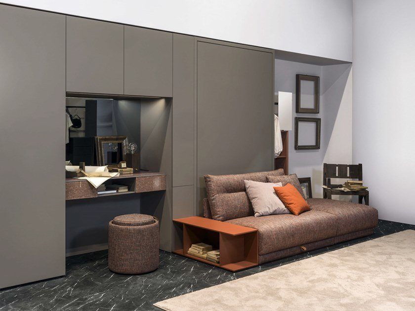 Lacquered storage wall with fold-away bed ON-OFF - COMPOSITION 07 by TUMIDEI