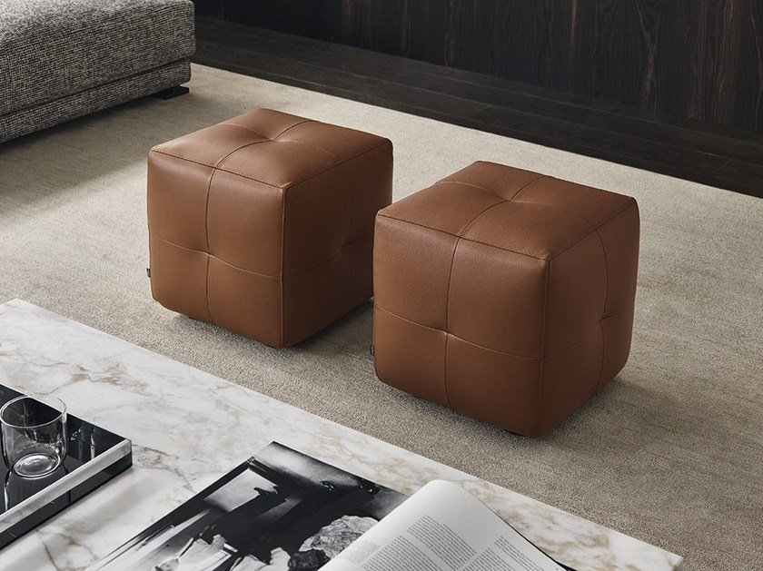 Upholstered leather pouf ONDA | Pouf by poliform