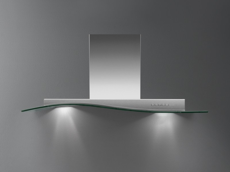 Wall-mounted Glass and Stainless Steel cooker hood ONDA VETRO by Falmec