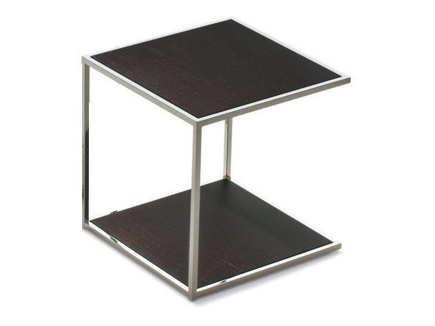 Square side table ONE   Wood veneer coffee table by Pacini & Cappellini
