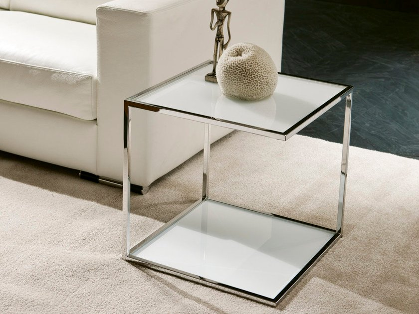 Tavolino di servizio quadrato ONE | Tavolino in vetro by Pacini & Cappellini