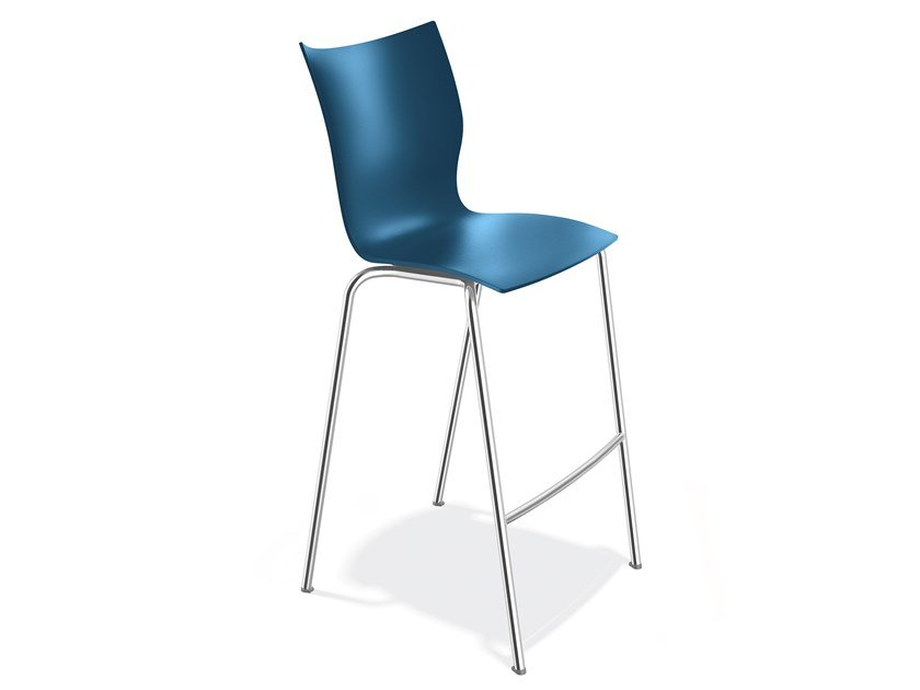 Plastic stool with footrest ONYX BARSTOOL   Plastic stool by Casala