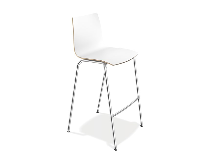 Laminate stool with footrest ONYX BARSTOOL | Stool with footrest by Casala
