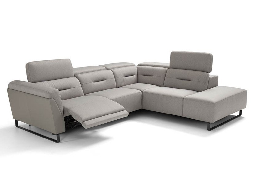 Corner recliner fabric sofa with headrest OPEN | Corner sofa by Max Divani