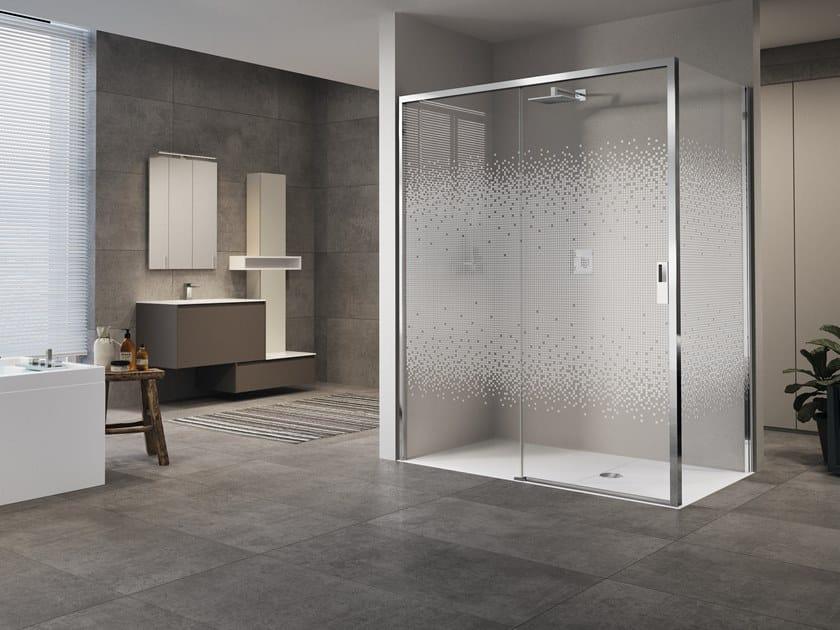 Corner shower cabin with sliding door OPERA 2P+F by NOVELLINI