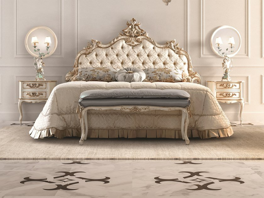 Upholstered bed with tufted headboard OPERA   Bed with tufted headboard by Andrea Fanfani