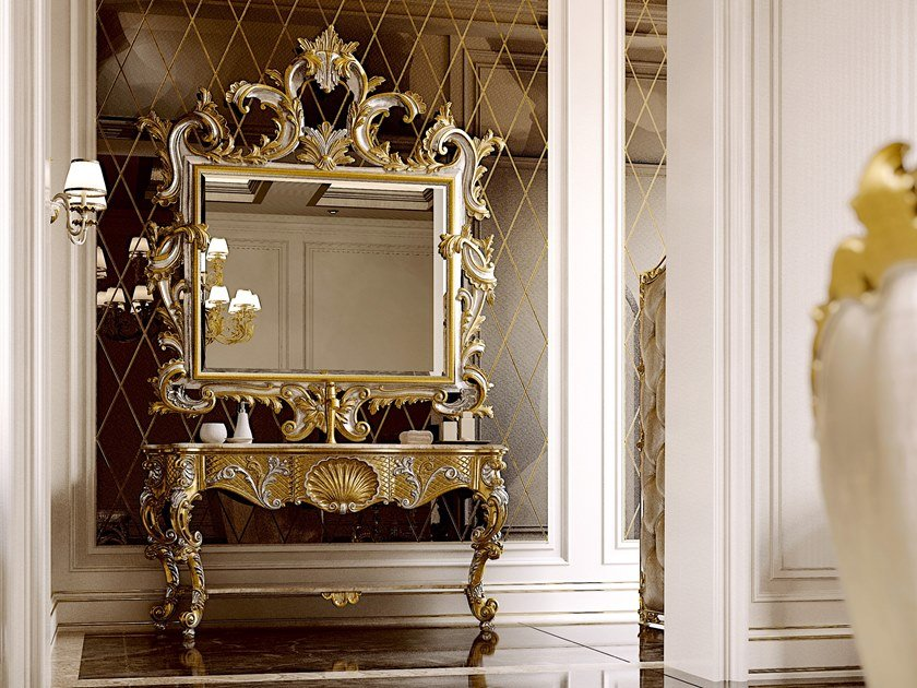 Floor-standing console sink with mirror OPERA | Console sink by Andrea Fanfani