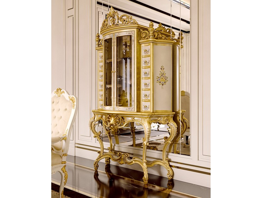 Gold leaf highboard with doors with drawers OPERA | Highboard by Andrea Fanfani