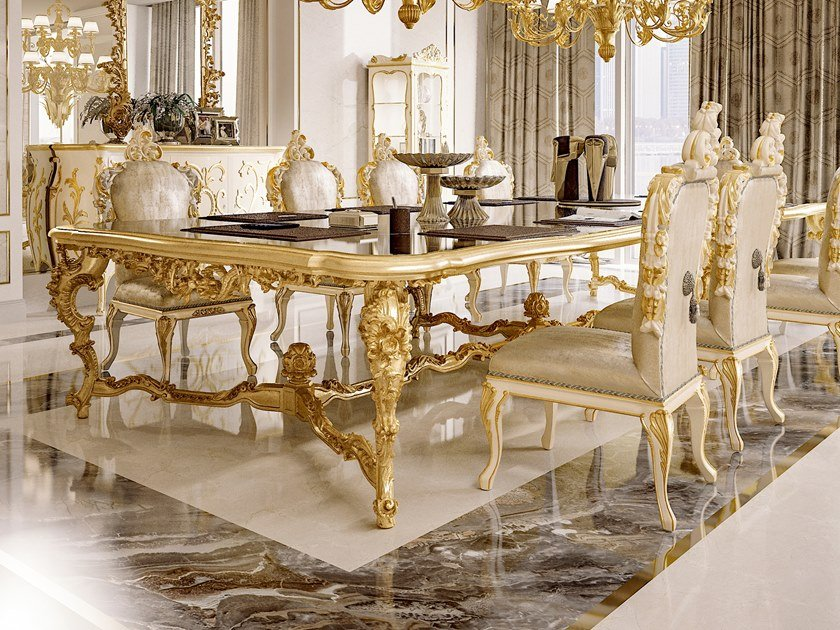 Rectangular gold leaf table OPERA | Table by Andrea Fanfani