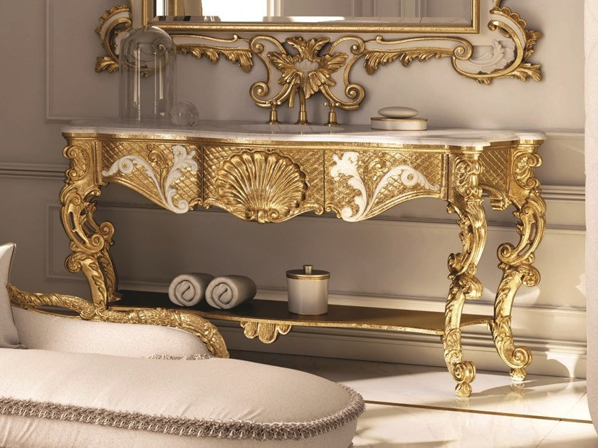 Single gold leaf vanity unit OPERA | Gold leaf vanity unit by Andrea Fanfani