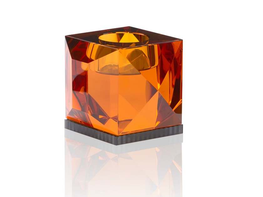 Crystal candle holder OPHELIA AMBER by Reflections Copenhagen