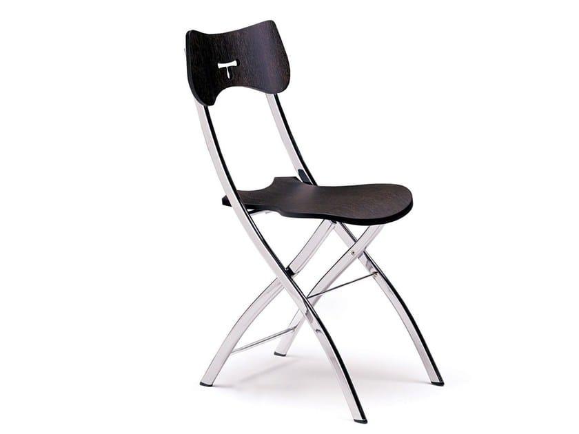 Folding wooden chair OPLÀ   Wooden chair by Ozzio Italia
