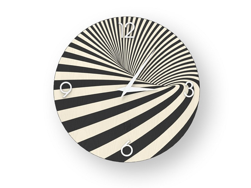 Wall clock made of inlayed wood OPTICAL COLD | Clock by LIGNIS®