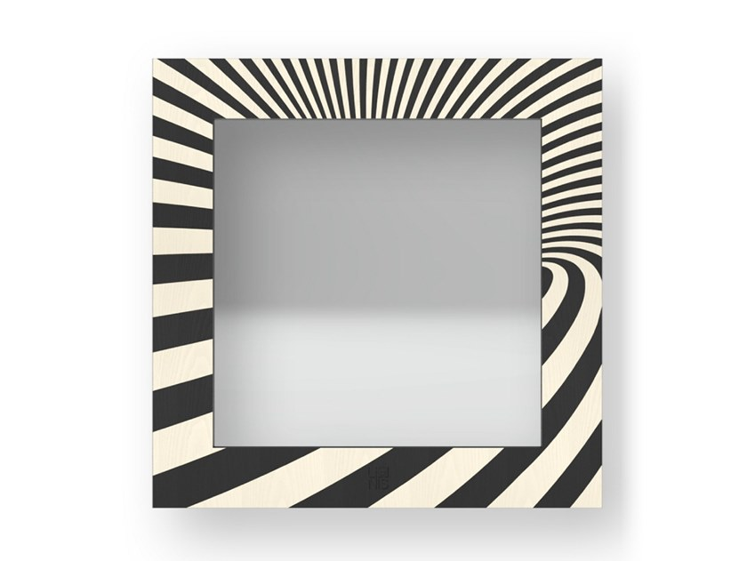 Square wall-mounted framed mirror OPTICAL COLD | Mirror by LIGNIS®