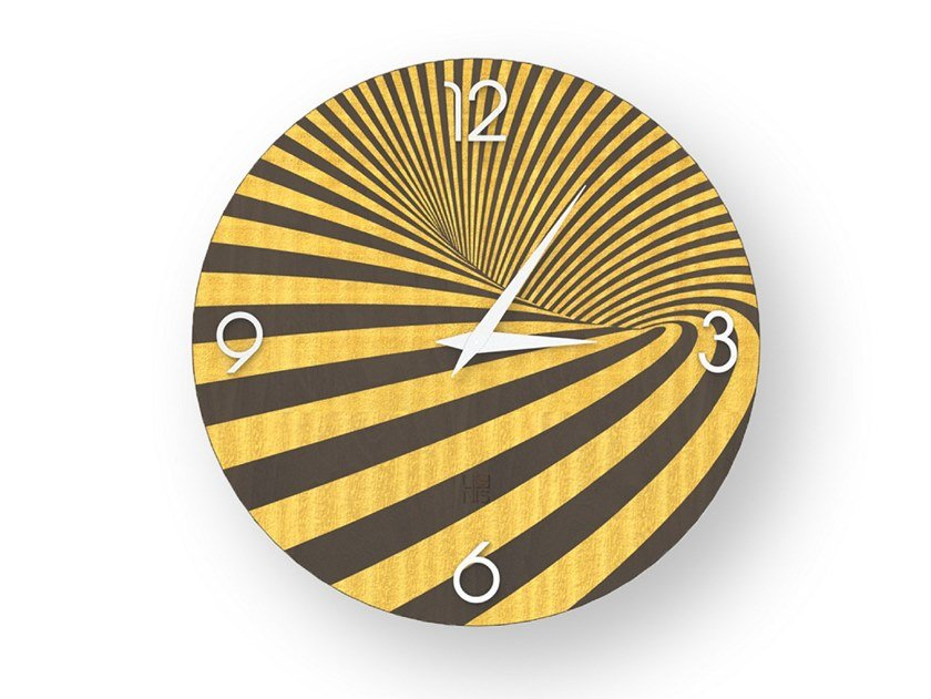 Wall clock made of inlayed wood OPTICAL COLORS | Clock by LIGNIS®