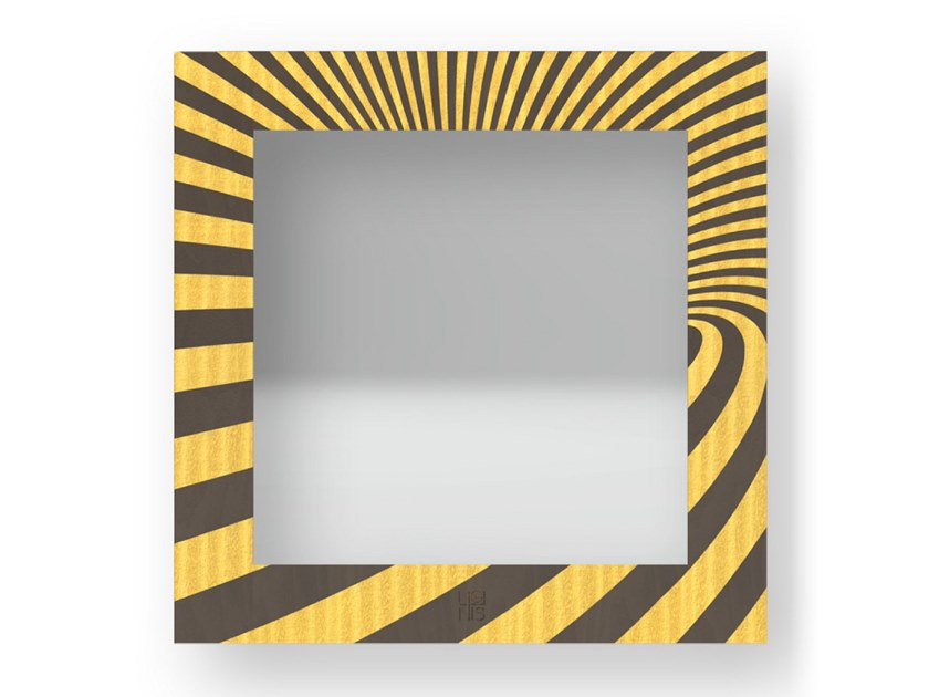 Square wall-mounted framed mirror OPTICAL COLORS | Mirror by LIGNIS®