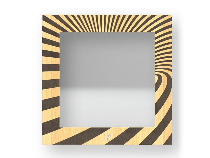 Square wall-mounted framed mirror OPTICAL WARM   Mirror by LIGNIS®