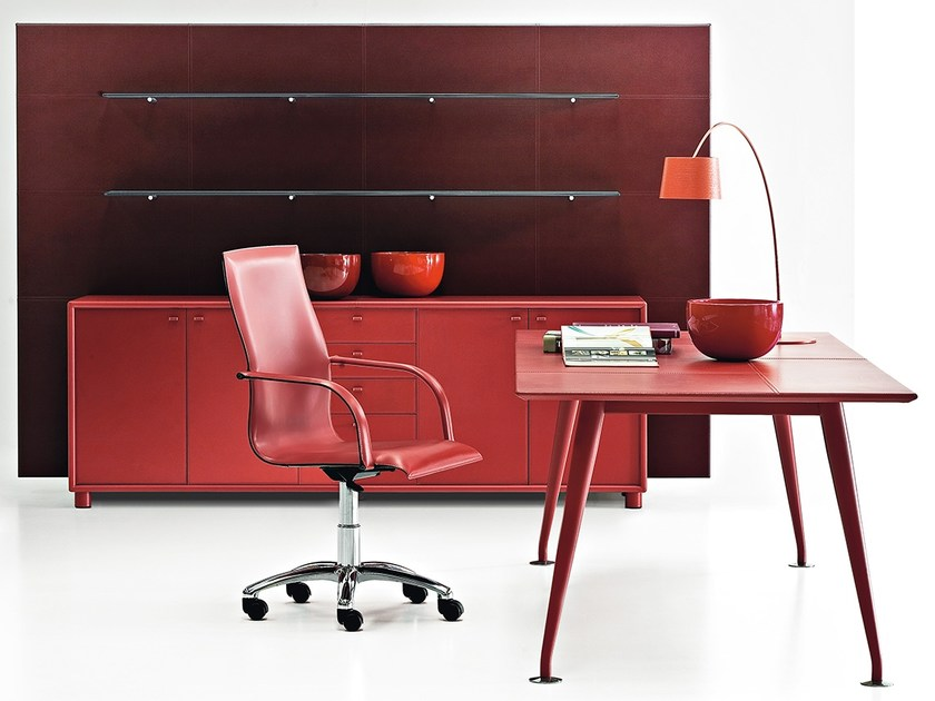 Rectangular tanned leather office desk ORAZIO | Office desk by Polflex