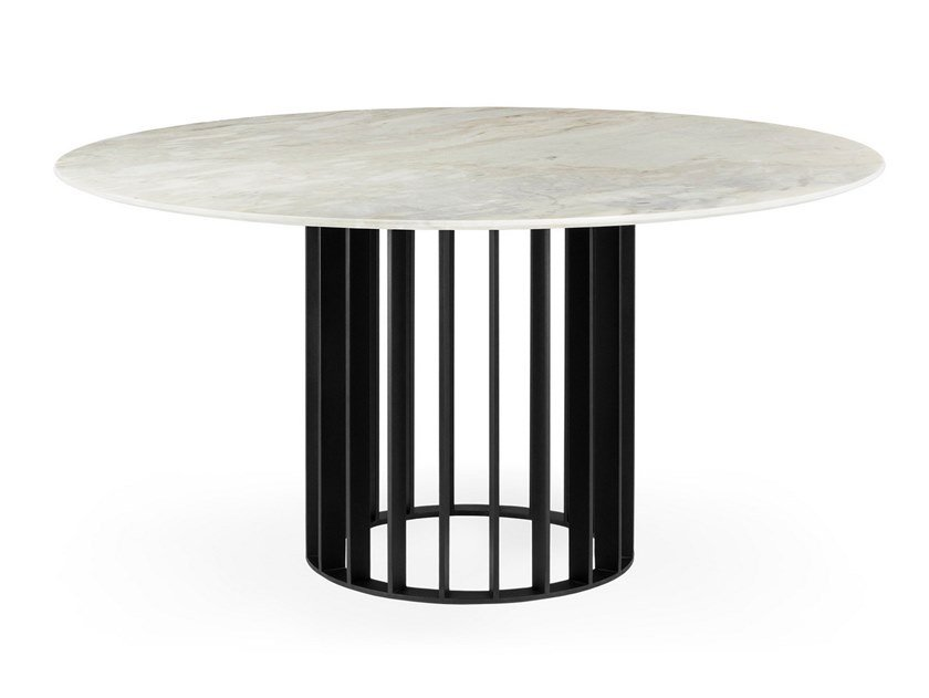Round Calacatta marble dining table ORBITER CALACATTA | Dining table by OIA Design