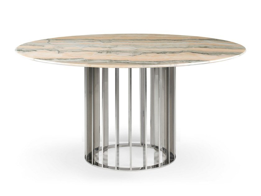 Round Pink marble dining table ORBITER ROSE TEMPTATION | Dining table by OIA Design