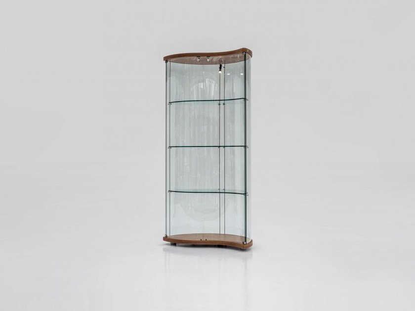 Wood and glass display cabinet with integrated lighting OREGINA by Tonin Casa