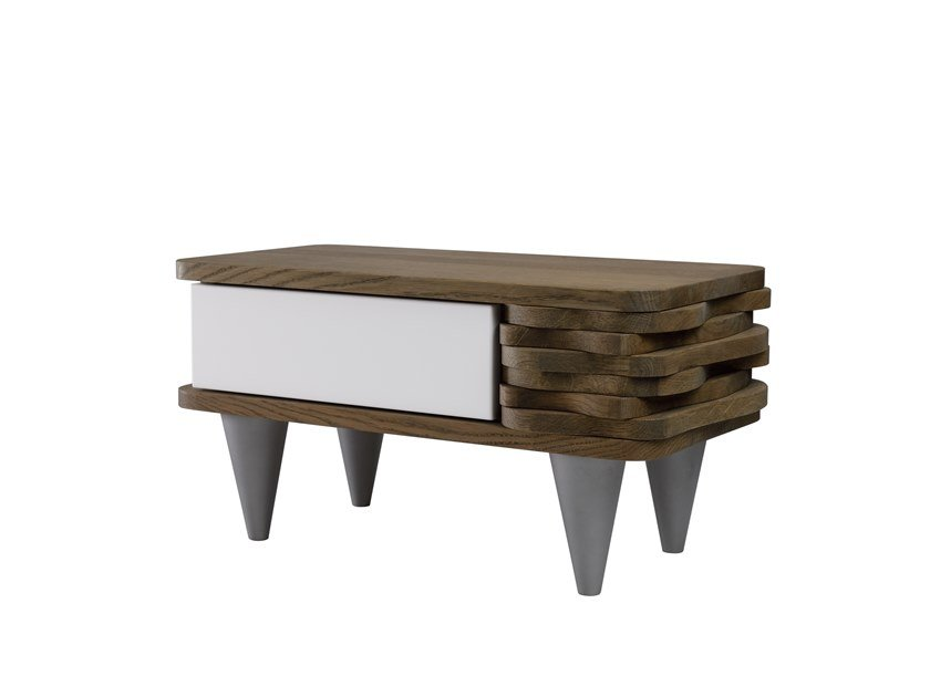 Oak bedside table with drawers ORGANIQUE FUR0120 - 0122 by Gie El Home