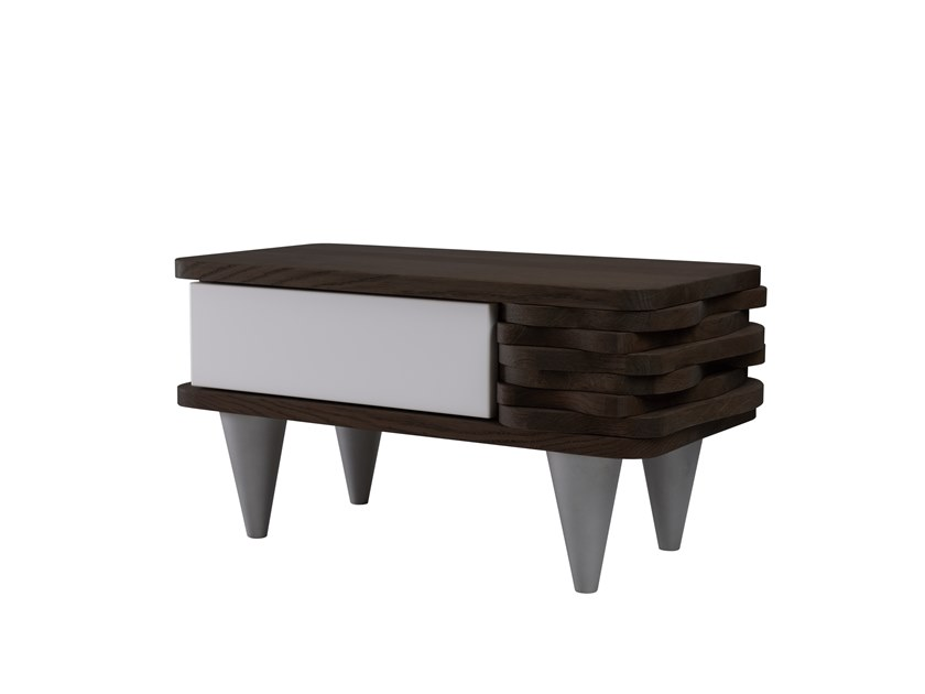 Oak bedside table with drawers ORGANIQUE FUR0140 - 142 by Gie El Home