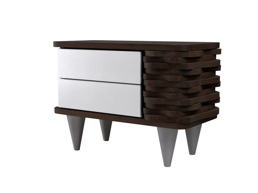 Oak bedside table with drawers ORGANIQUE FUR0150 - 0150 by Gie El Home
