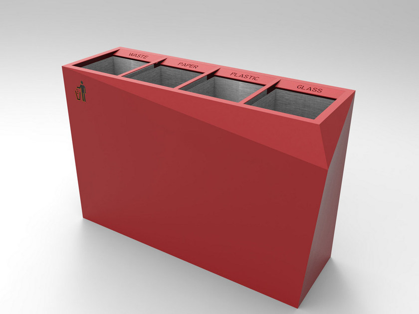 Galvanized steel litter bin for waste sorting ORIGAMI by CITYSì