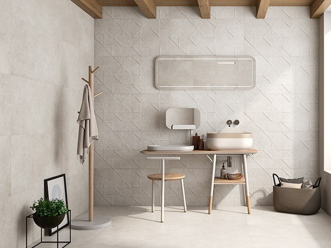 Porcelain wall tiles with concrete effect ORIGAMI by ITT Ceramic