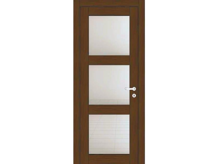Hinged wood and glass door ORION 39V3 ROVERE MOKA by GD DORIGO